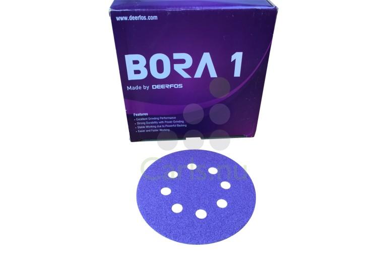 125mm Bora 1 sliberondeller med 8 huller og velcro