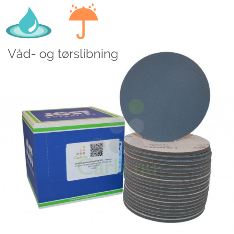 Vandslibepapir til excentersliber Ø150mm (Useit Superfinishing Pad SG3)