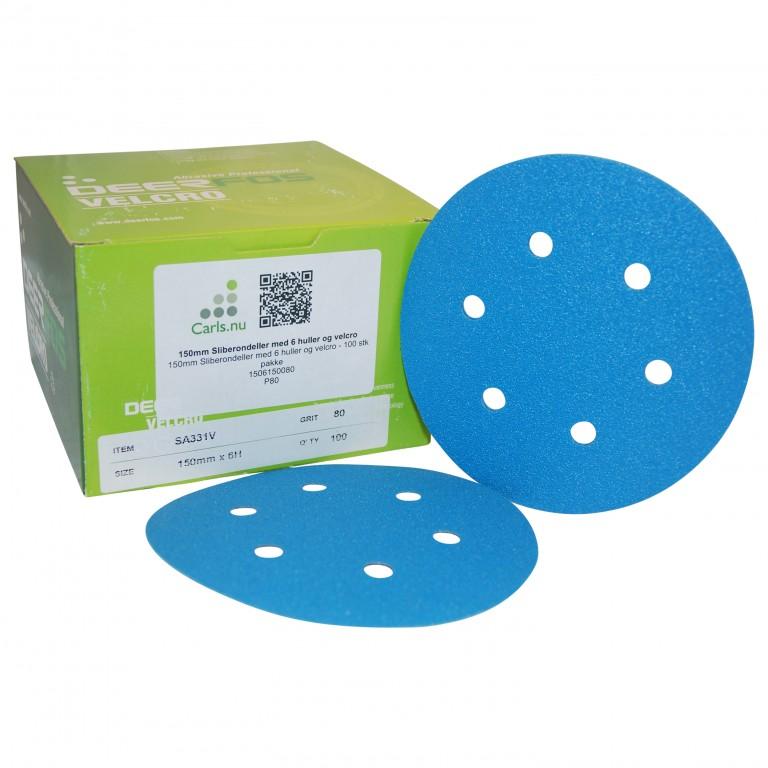 Sliberondeller ø150 mm med velcro, 6 huller til excentersliber - 25 stk pakke