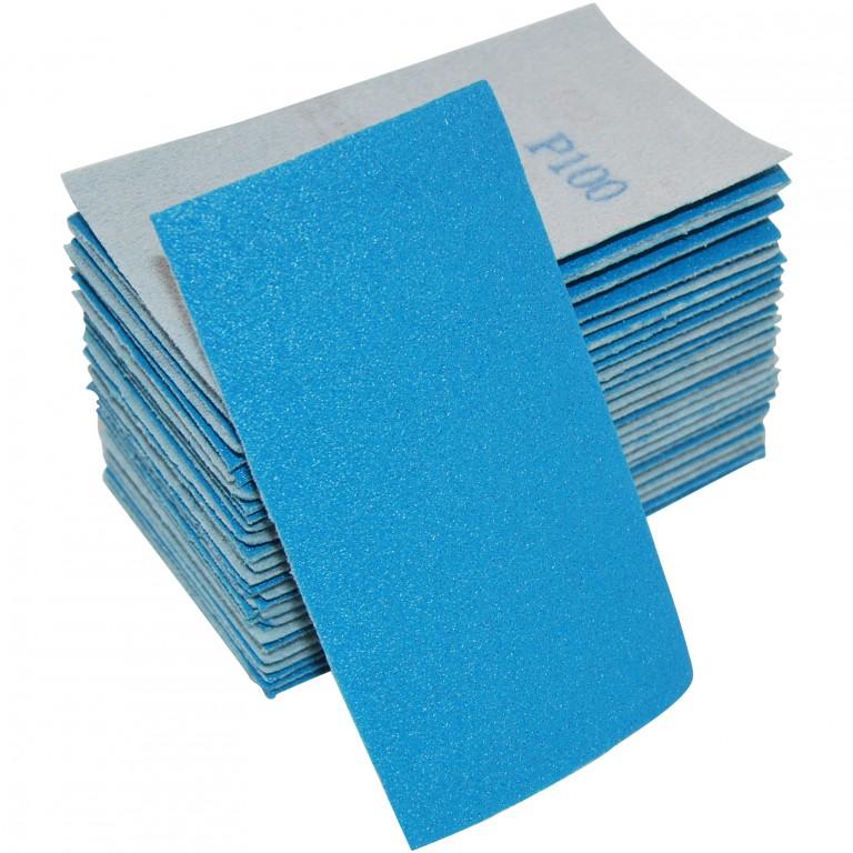 Sandpapir i ark 70x125mm velcro uden huller - 50 stk