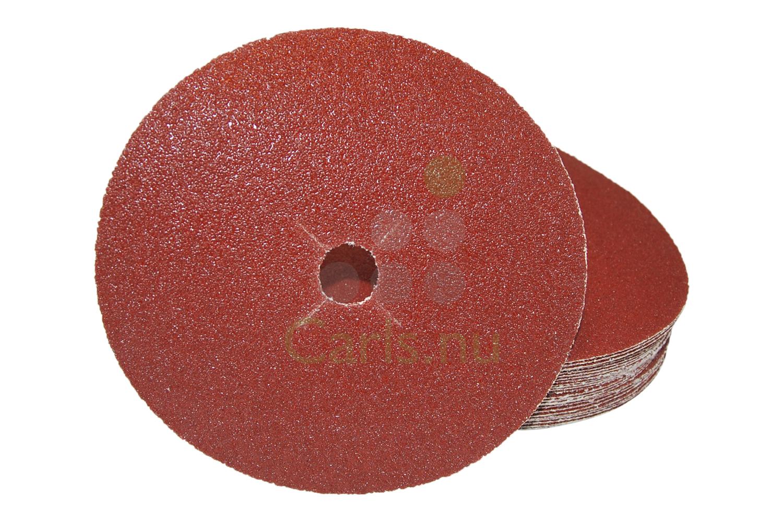 Image of   180mm Kant sliberondeller med velcro og centerhul - 25 stk Korn P100