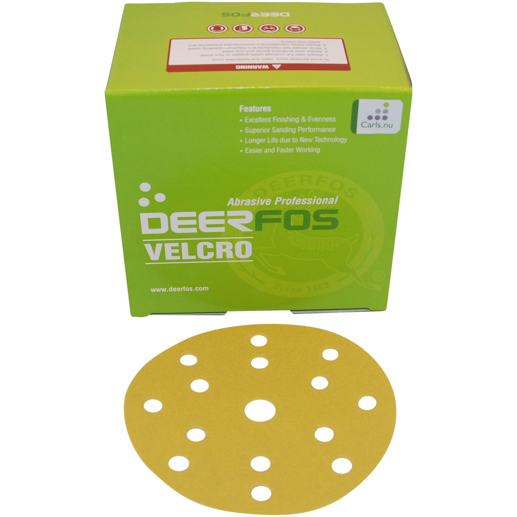 Image of   Sliberondeller 15 huller, ø150 mm med velcro til excentersliber - 100 stk Korn P100